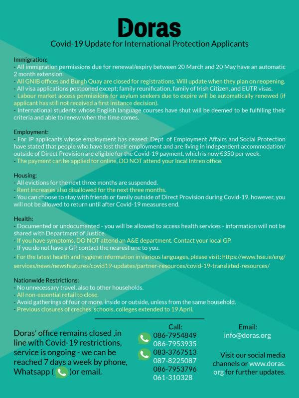 Doras Covid-19 DP Info Sheet 25 March
