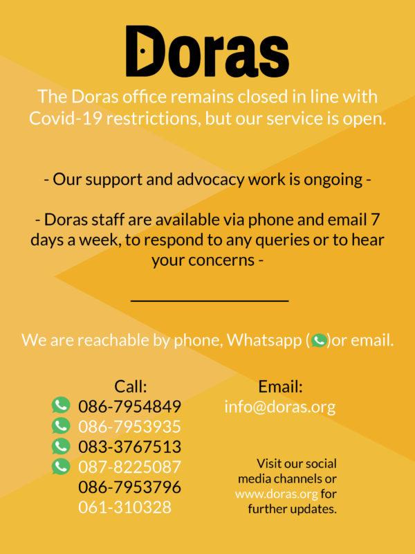 Doras Covid-19 Service Sign March 25