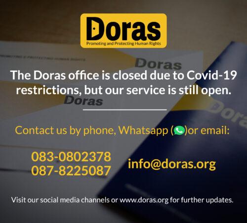 Doras Covid-19 Service Sign Door web Oct 6